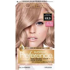 L Oreal Excellence Age Perfect Hair Color Chart Loreal Paris Superior Preference Fade Defying Shine Permanent Hair Color 8rb Medium Rose Blonde 1 Kit