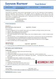 TAXI Driver Resume 2017 Examples