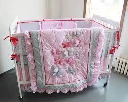 elegant princess crib bedding sets baby kit cot set 3d pink embroidery erflys lace comforter per sheet skirt for girls baby bed comforter set for