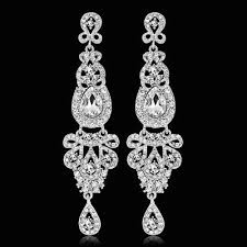ep long crystal drop earrings diamante bridal chandelier rhinestone dangle prec
