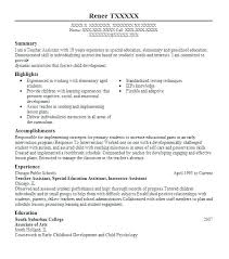 Special Education Instructional Assistant Sample Resume