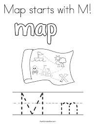 Small Picture Map starts with M Coloring Page Twisty Noodle