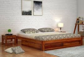 wooden bed furniture design. Latest Double Bed Design With Storage Box And Without Headboard Wooden Furniture I