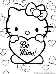 Hello Kitty Valentines Coloring Pages Printable Treats Com