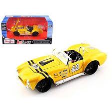 <b>1965</b> Shelby Cobra 427 #42 Yellow <b>1/24 Diecast</b> Model Car By <b>Maisto</b>