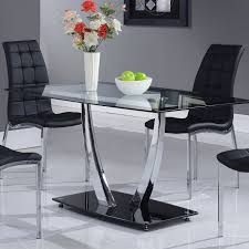 Global Furniture Glass Dining Table With Black Trim And Chrome Legs