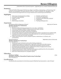 Medical Equipment Technician Resume Sample
