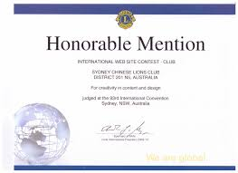 Honorable Mention Certificate Welcome To The Lions Club Of Sydney Chinese Inc