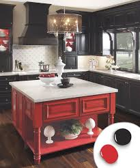 kitchen colors images: kitchen with black painted kitchen cabinets and red painted kitchen island