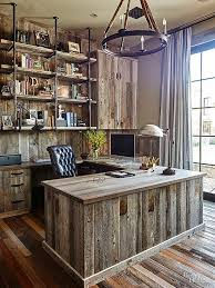 Image Mahogany An Allwood Home Office Brings Barnyardinspired Chic To The Next Level Contrasting Shades And Grains Keep The Office From Looking Too Onedimensional Pinterest Vintage Meets Industrial In This Storagesavvy Home Mountain House