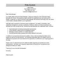 Winsome Ideas Project Manager Cover Letter 1 Best Technical