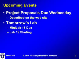 Project Proposals Mesmerizing March R Smith University Of St Thomas Minnesota QMCS 48 Today