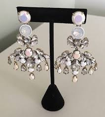 j crew colorful crystal chandelier statement earrings nwt 98 style e3525