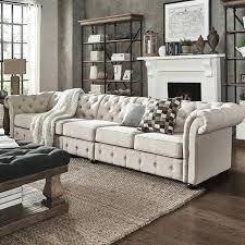 extra long couch beige linen oversize extra long tufted chesterfield modular sofa by inspire q artisan
