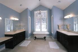 blue bathrooms. Bathroom. White Bathtub With Dark Brown Wooden Vanity And Top Sink On Ceramics Blue Bathrooms