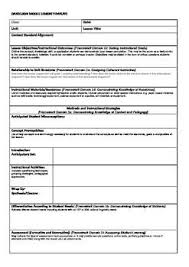 sample lesson plan outline danielson model lesson plan template teaching ideas pinterest