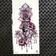 сексуальная временная татуировка рисование акварелью роза геометрические