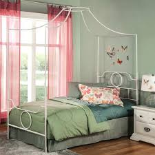 Full Bed Frame White White Full Complete Kids Metal Canopy Bed With ...