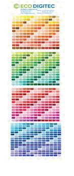 Dye Sublimation Color Chart Colour Chart Ecodigitec Sublimation Inc