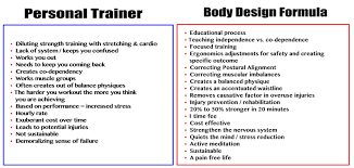Personal Training Chart Personal Trainer Vs Dr Fitness Usa