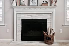 new tile around fireplace