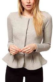 light gray long sleeve peplum outwear