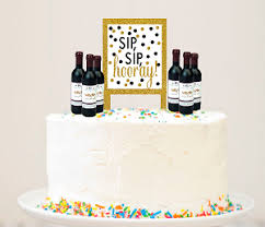 Alcohol Lovers Liquor Bottles Eat Drink Be Merry Cake Decoration