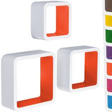 Floating Cube Shelves Uk Miadomodo HRGL100 100 Pcs Wall Shelf Set Twocoloured whiteorange 80