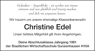 Traueranzeigen von Christine Edel   trauer.nordbayern.de