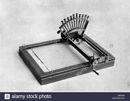 stock photo office office equipment typewriter le raphigraphe by francois pierre foucault 1841 19th century invention inventions writing century office equipment