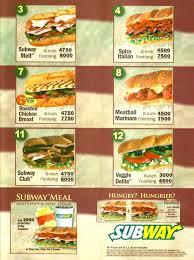 subway menu 2013. Exellent Menu Menu For Subway And 2013