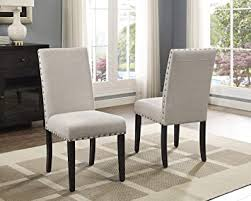 Roundhill Furniture Biony Tan Fabric Dining Chairs ... - Amazon.com