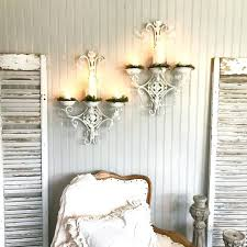 sconces shabby chic wall sconce light crystal candle holder sconces set of two white the