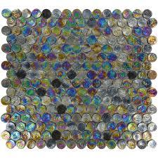 Circle Tiles Circles Black Glass Penny Circle Tile Glossy Iridescent Imc20 06
