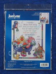 details about cross stitch kit bathtime rules bathroom bright fun whimsical 10 x 12 janlynn