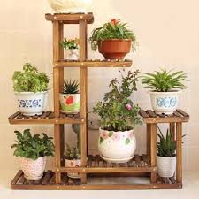 5 tiers wooden flower pot stand plant display shelf garden patio indoor outdoor
