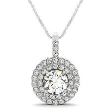 diamond drop double halo pendant necklace 18k white gold 2 25ct