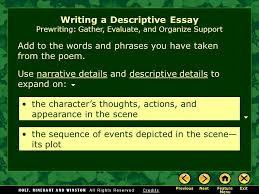 writing workshop writing a descriptive essay assignment prewriting  9 use narrative details and descriptive details