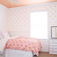 For Finnley's big girl room. love the colored ceiling and gold polka dots!