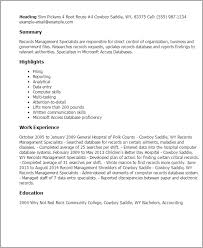 Professional Records Management Specialists Templates To Showcase intended  for Records Management Resume