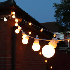 outdoor festoon lights connectable warm white leds frosted bulbs white cable