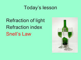26 today s lesson refraction of light refraction index snell s law
