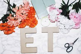 paper mache letters fake flowers