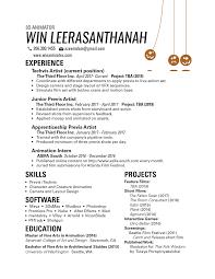 Animator Resume Résumé Win Leerasanthanah 49