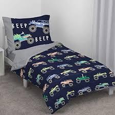 monster truck 4 piece toddler bed set