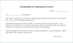 Separation Of Employment Letter Termination From Employer