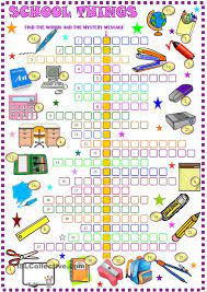 School things : crossword puzzle with ...