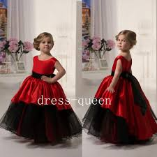 Newest Red <b>Kid</b> Communion Dresses <b>Sleeveless Ankle Length</b> Bow ...