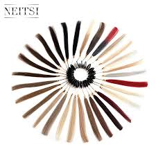 Neitsi Human Hair 30 Color Rings Color Charts For Human Hair Extensions Salon Hair Dyeing Sample Can Be Dyed Fast Shipping