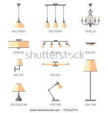 types of ceiling lighting. Types Of Ceiling Lighting. Vector Set Named Indoor Lighting Types. Flat Style. O